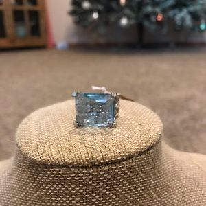 Jewelry - Blue Topaz and Crystal Cocktail Ring